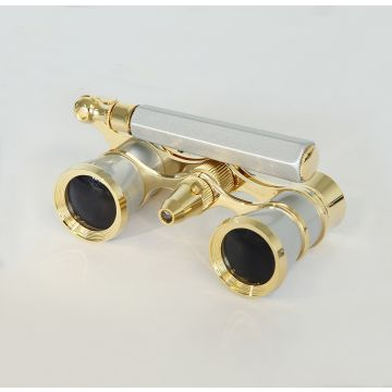 saxon 3x25 Opera Glasses with Handle and Light (Gold) - SKU#150032
